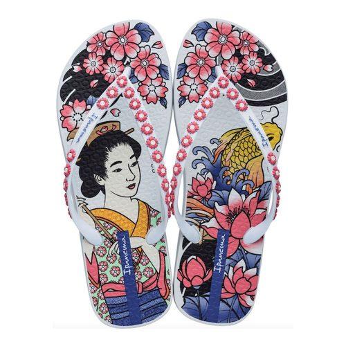 """Sandalia Ipanema de la colección """"Sem Igual Tattoo"""" con estampado de tatuajes zem (26454-20553) de color Blanco/Rosa"""